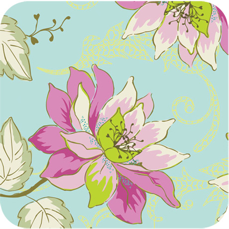 Girly Girl Aqua Garden Fabric from Art Gallery