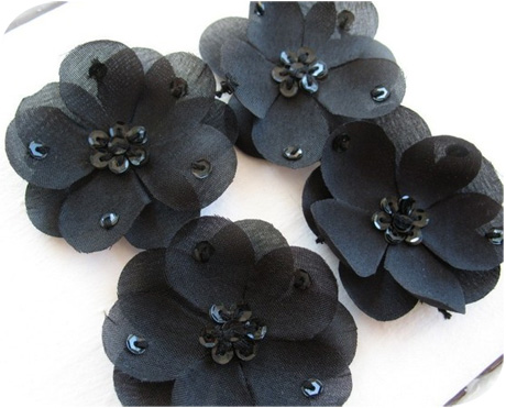 Flower embellishments michellepatterns small black silk flowers with sequins mightylinksfo