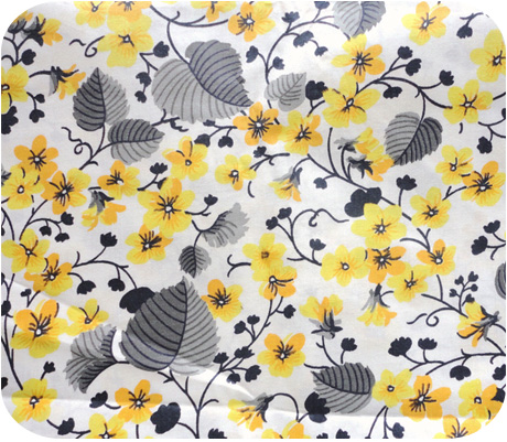 Yellow And Gray Vintage Floral Cotton Fabric
