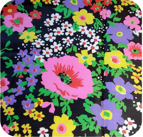 Spring Flowers Vintage Satin Fabric