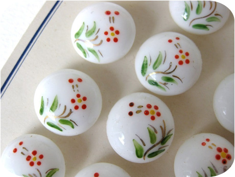 Painted Flowers Vintage Glass Buttons