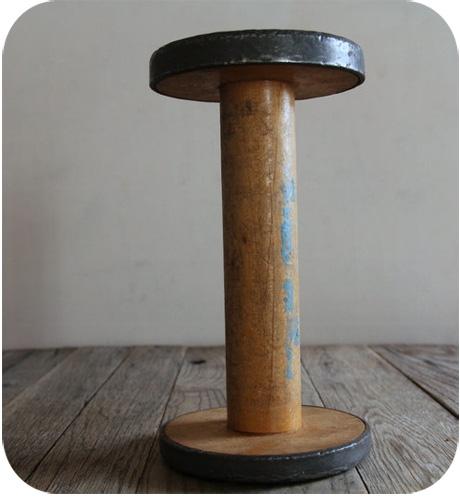 Vintage spool with metal rim