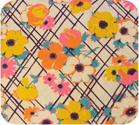 Vintage fabric 1960 s bright white with flowers michellepatterns