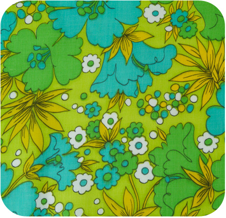 1960s MOD Cotton Green Floral Fabric