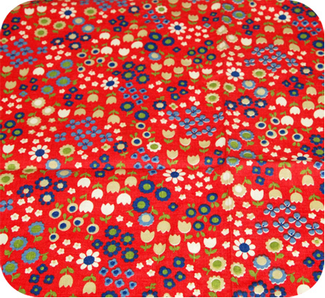 Vintage 70s Novelty Fabric Cute Floral Print