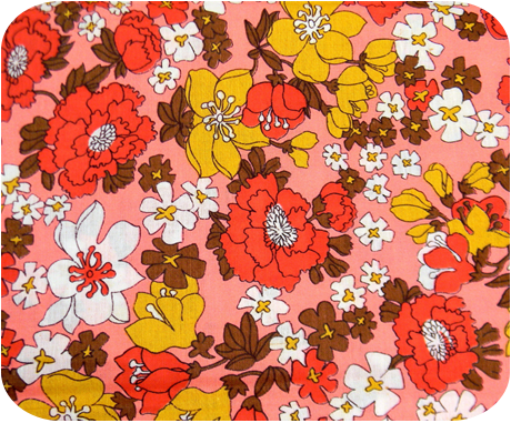 Vintage 1950s Lovely Retro Pink Floral Fabric