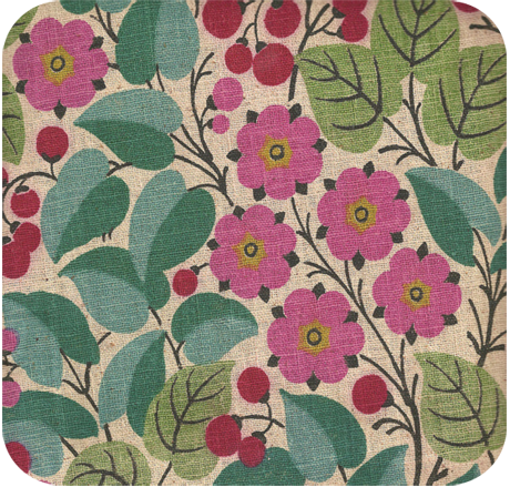 Vintage 1950s Cherries Amp Flowers Upholstery Weight Fabric
