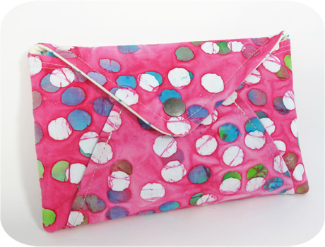 Pink batik envelope clutch