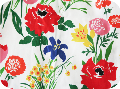 Vintage 70s Bold Spring Flowers Floral Upholstery Fabric