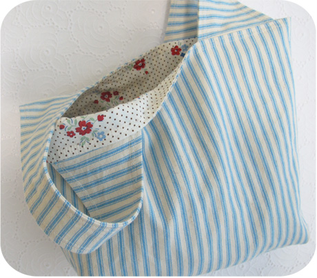 Turquoise Ticking Grocery Bag Blog Image