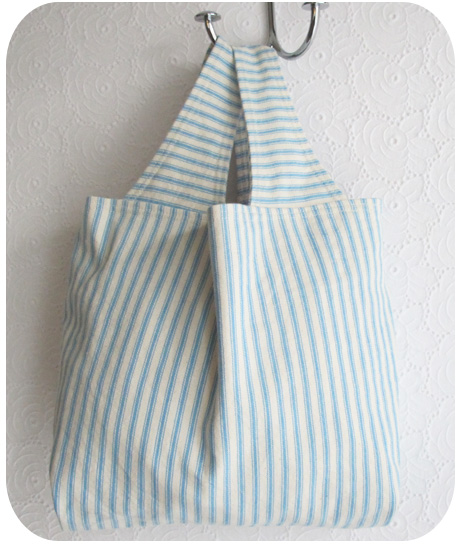 Small Turquoise Ticking Grocery Bag