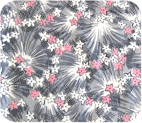1950s Pink Amp Gray Floral Vintage Cotton Fabric
