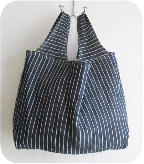 Linen Denim Grocery Bag