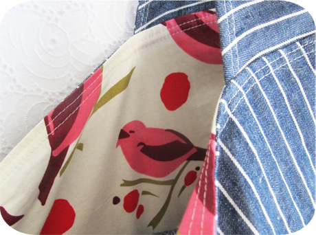 Linen Denim Grocery Bag Lining
