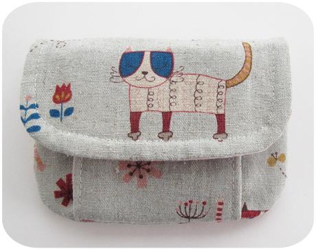 Mini Pleated Pouch Japanese Kitties 2