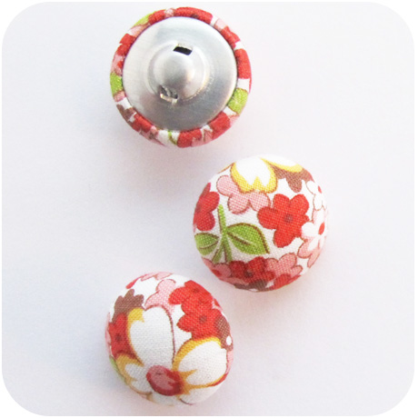 Mushroom Top Buttons Lecien Floral Red
