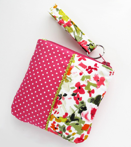 Zipper Pouch 5 Pink and Floral