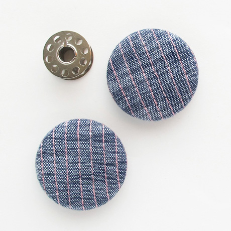 Blue ikat stitched buttons