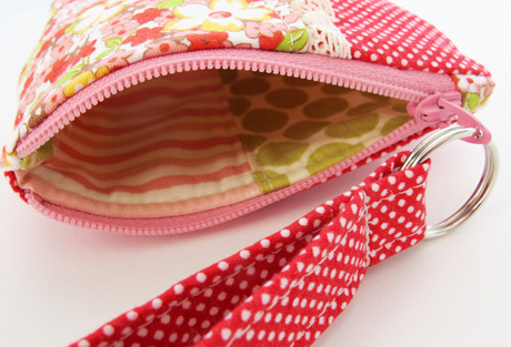 Small Red Floral Coin Purse Lining