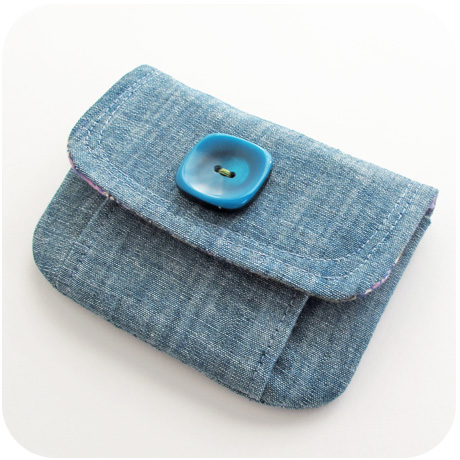 Mini Chambray Pleated Pouch