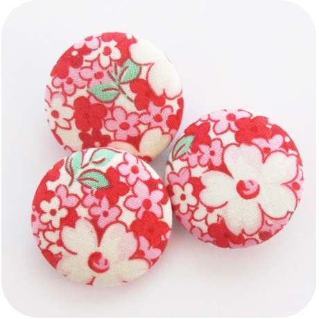 Buttons Lecien Floral Red