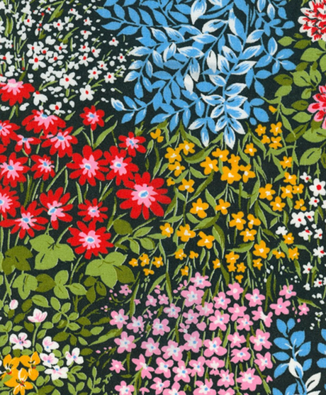 Vintage Multi-Floral Garden Scene