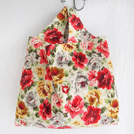 Floral corduroy grocery bag
