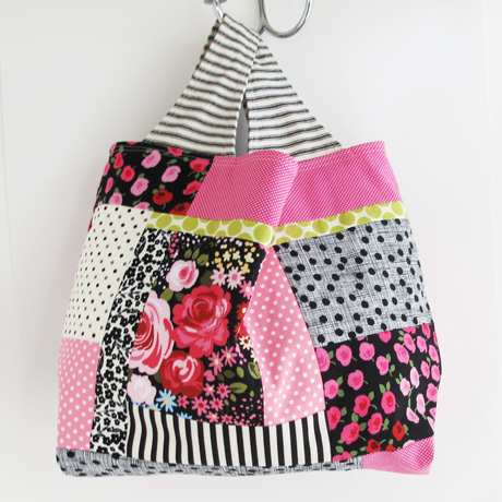 Black Ticking Patchwork Bag