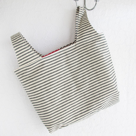 Black Ticking Grocery Bag