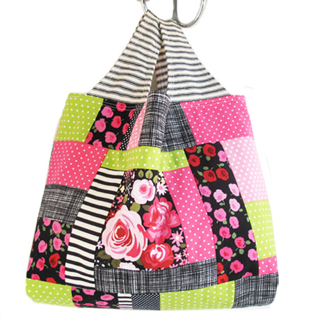 Pink and Black Patchwork Bag