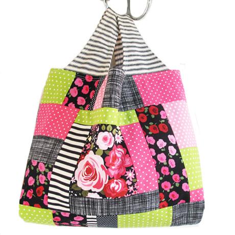 Pink and Black Patchwork Bag