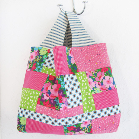 Pink and Blue Patchwork Bag