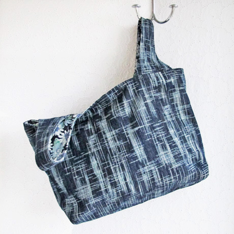 Textured Denim Grocery Bag