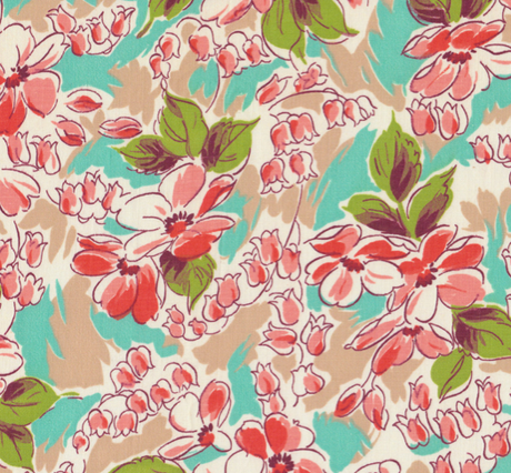 Vintage 40s Floral Fabric