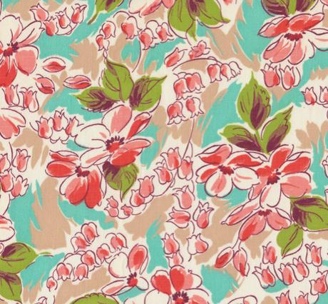 Vintage 40s Floral Fabric