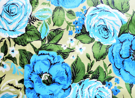 Blue and green roses print vintage cotton fabric