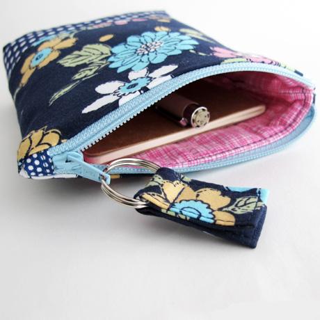 Blue floral zip pouch