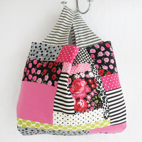 Black Ticking Patchwork Grocery Bag