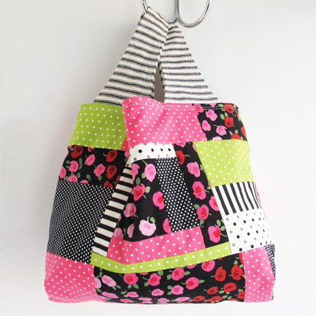 Small pink and black patchwork bag