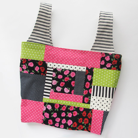 Small pink and black patchwork grocery bag
