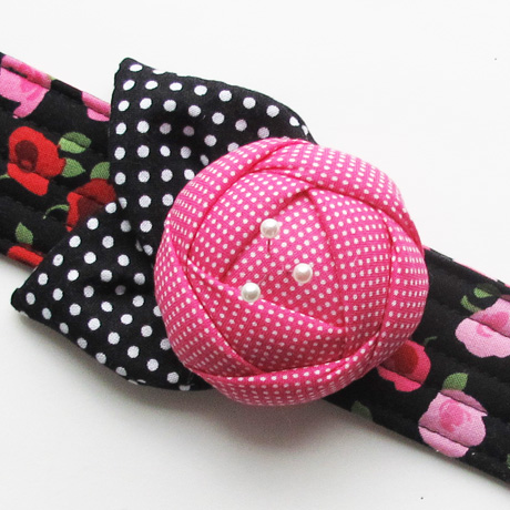 Pink and black rose pincushion