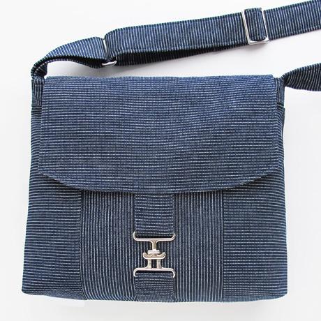 Pinstripe messenger bag