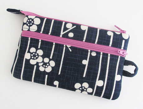 Cherry blossom double zip pouch