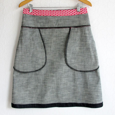 Dark denim skirt pockets