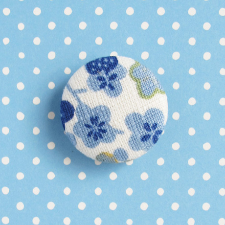 Blue cherry blossom brooch 1 inch