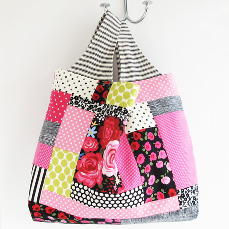 Pink patchwork bag side 2