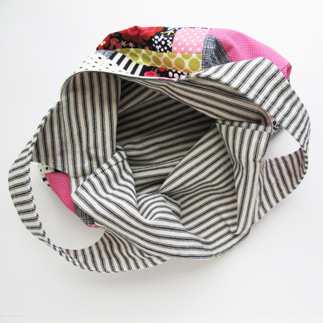 Pink patchwork bag inside