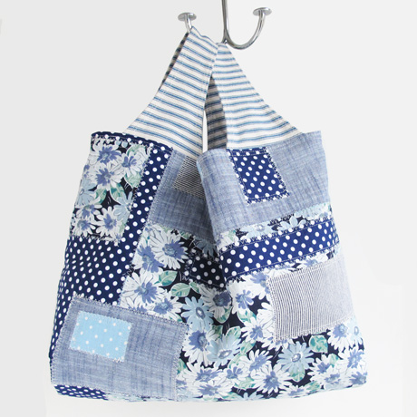 Blue Collage Patchwork Bag