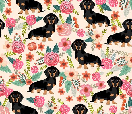 Dachshund floral fabric