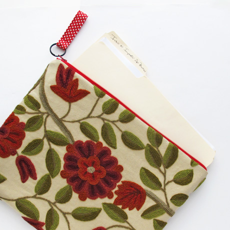 Large Crewel Zip Pouch